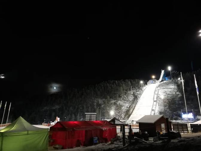 Ruka by night, moonligt during the skijump competition