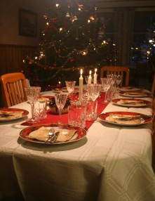 Christmas dinner table waiting for eaters