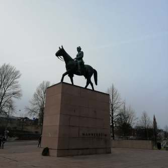 Statue of Mannerheim, our former president in front of Kiasma